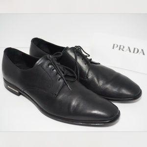 PRADA Almond Toe Oxford Lace Up Dress Shoe Black